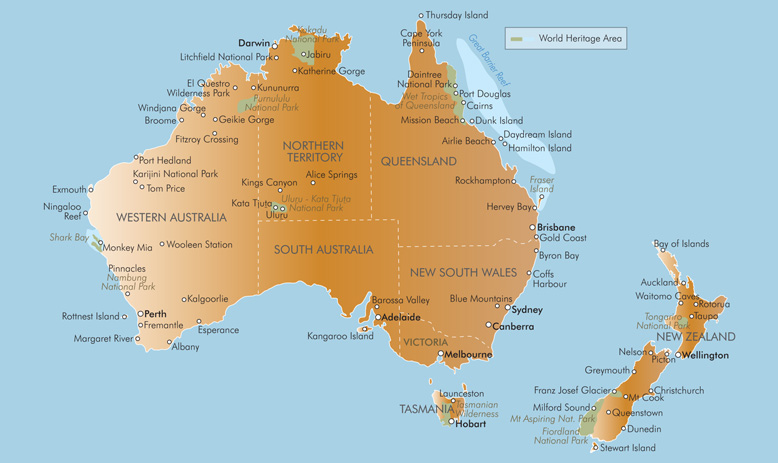 Location map of australia and new zealands locations and how far away they are from each other sciox Gallery